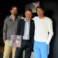 Maarten Schäfer (CoolBrands) (R) with Frederic Bodenes (Art Director at Le Bon Marché) (M) and Bertrand (Video Artist) (L) Preparing for the Brazil exhibition in Le Bon Marché.