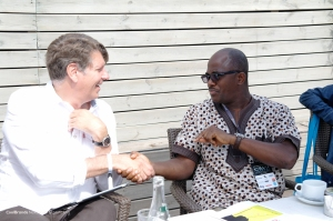 Meeting Christian Cappe (left) at a Cristal Festival breakfast at #CannesLions