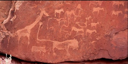 Rock carvings at Twyfel Fontein in Namibia